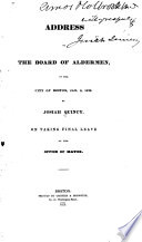 Address To The Board Of Aldermen Of The City Of Boston Jan 3 1829