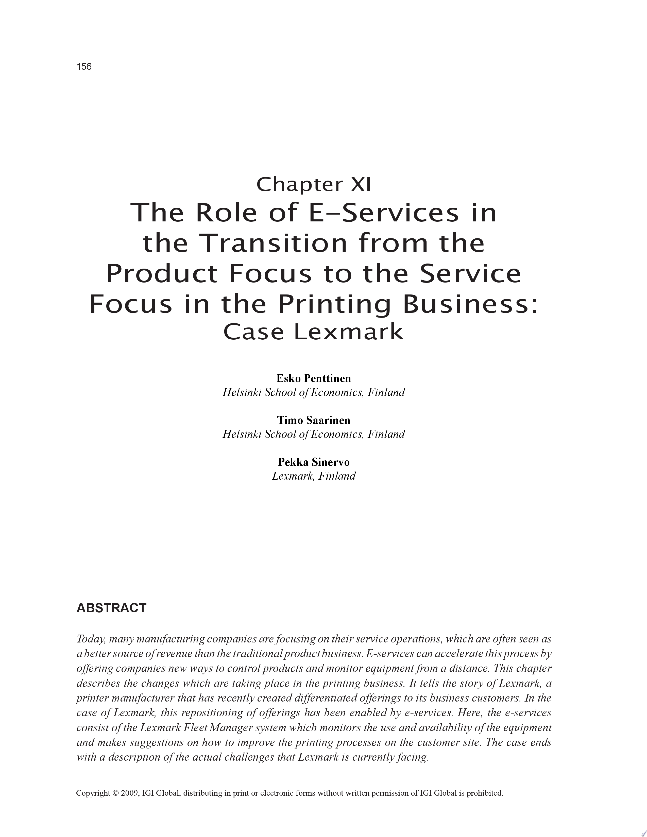 The Role of E Services in the Transition from the Product Focus to the Service Focus in the Printing Business  Case Lexmark