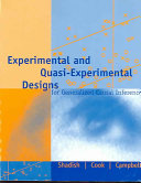 Experimental and Quasi experimental Designs for Generalized Causal Inference Book