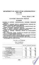 Department of Agriculture Appropriations for 1964