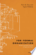 Cover of For Formal Organization