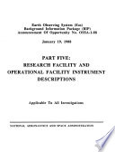 Earth Observing System Eos Background Information Package Bip Research Facility And Operational Facility Instrument Descriptions