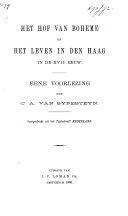 Het hof van Boheme en het leven in den Haag in de XVIIe eeuw