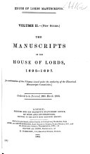 The Manuscripts of the House of Lords  1695 1697  H L  18