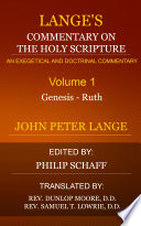 Lange S Commentary On The Holy Scripture Volume 1