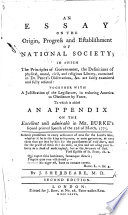 An Essay on the Origin  Progress and Establishment of National Society