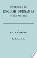 Read Online References to English Surnames in 1601 and 1602 For Free