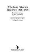 Who Sang what on Broadway  1866 1996  The singers  L Z