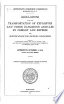 Regulations for the Transportation of Explosives and Other Dangerous Articles by Freight and Express, and Specifications for Shipping Containers