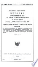 Financial Disclosure Reports of Members of the U S  House of Representatives for the Period Between January 1  1996 and December 31  1996