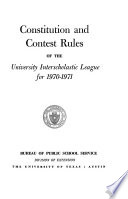 Constitution and Rules of the Interscholastic League