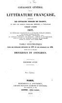 Catalogue général de la littérature française