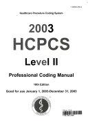 HCPCS Level II Codes 2003
