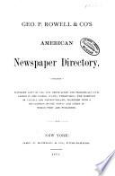 Rowell S American Newspaper Directory
