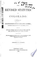 The Revised Statutes of Colorado Book