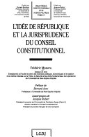 L'idée de République et la jurisprudence du Conseil constitutionnel