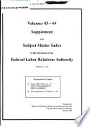 Staff Draft Subject Matter Index of the Decisions of the Federal Labor Relations Authority