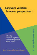 Pdf Language Variation – European perspectives II Telecharger