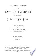Roscoe s Digest of the Law of Evidence on the Trial of Actions at Nisi Prius Book
