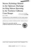 Stream hydrology related to the optimum discharge for King Salmon spawning in the northern California coast ranges