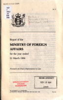 Report of the Ministry of Foreign Affairs for the Year Ended 31 March     Book