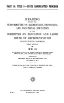 Hearings before the Subcommittee on Elementary  Secondary  and Vocational Education of the Committee on Education and Labor  House of Representatives  Ninety fifth Congress  first session  on H R  15  to extend for five years certain elementary  secondary  and other education programs
