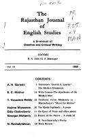 The Rajasthan Journal Of English Studies