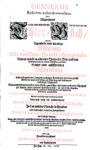 Gesnerus Redivivus auctus & emendatus. Oder Allgemeines Thier-Buch, Das ist: Eigentliche und lebendige Abbildung Aller vierfüssigen ... Thieren ... Sampt einer außführlichen Beschreibung ... verbessert, und ... erweitert, durch Georgium Horstium