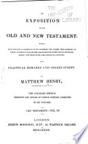 An Exposition of the Old and New Testament  Wherein Each Chapter is Summed Up in Its Contents  Job Solomon s Song  1839