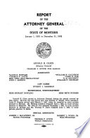 Report of the Attorney General of the State of Montana