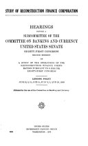 Study of Reconstruction Finance Corporation  Hearings Before a Subcommittee of      81 2 1950