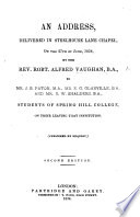 An Address delivered     to     Students of Spring Hill College     Second edition