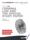 My Revision Notes Ocr A2 Criminal Law And The Special Study Paper