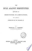 The Rule Against Perpetuities Book