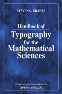 Handbook of Typography for the Mathematical Sciences Pdf/ePub eBook