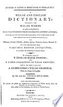 Antiqu   lingu   Britannic   thesaurus  being a British  or Welsh English dictionary   2 issues   Book PDF