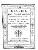 Recueil de planches pour la nouvelle édition du Dictionnaire raissoné des sciences, des arts et des métiers, avec leur explication