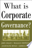 What Is Corporate Governance  Book