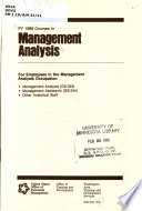 Fy 1986 Courses In Management Analysis For Employees In The Management Analysis Occupation