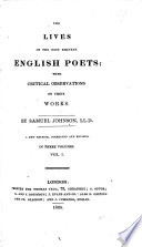 The Lives of the Most Eminent English Poets  Etc