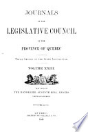 Journals Of The Legislative Council Of The Province Of Quebec