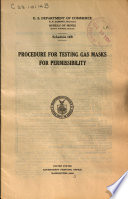 Procedure for Testing Gas Masks for Permissibility Book