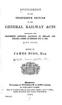 Supplement To The Thirteenth Edition Of The General Railway Acts