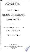 Cyclopaedia of Biblical  Theological  and Ecclesiastical Literature Book