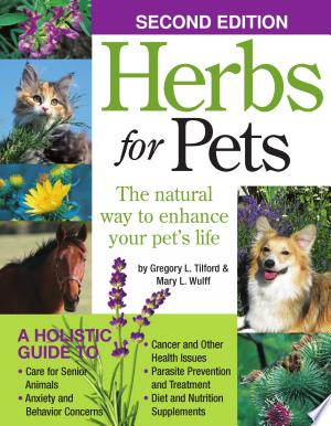 "Herbs+for+PetsHerbs for Pets, by herbalists and holistic experts Gregory L. Tilford and Mary L. Wulff, is the bible for all pet owners looking to enhance their companion animals' lives through natural therapies. Now in its second revised edition, Herbs for Pets is an indispensable resource, an exhaustive compendium of medicinal plants and natural remedies that hosts an illustrated tour through Western, ayurvedic, and Chinese herbs that grow in North America, including their holistic applications and contraindications, and alternative approaches to treating a wide range of ailments. Remedies in the book are applicable to dogs and cats, as well as birds, small mammals, and even farm animals. The book is organized into three chapters, the first is dedicated to the ""Principles and Practices of Herbalism,"" discussing the many facets of herbs, concerns about toxicity, basic herbal preparation, the ethical use of herbs, the connection between herbs and diet, and using herbs as dietary supplements. Chapter 2, titled ""Materia Medica: An A-Z Guide to Herbs for Animals,"" is an exhaustive 150-page section presenting color photographs and text about the appearance, habitat and range, cycle and bloom season, parts used, primary medicinal activities, strongest affinities, common uses, availability, propagation and harvest, alternatives and adjuncts, and cautions and comments for 65 different herbs (from Alfalfa to Yucca!). The common uses section is extensive for each herb, discussing the nutrient value, various qualities, and ways in which the herb is used for specific treatments. The third chapter of the book is titled ""An Herbal Repertory for Animals: Ailments and Treatments"" and details remedies for the following: anxiety, nervousness, and behavioral problems; arthritis and hip dysplasia; cancer; cardiovascular problems; digestive system problems; ear problems; elderly animal care; endocrine system and related problems; epilepsy, convulsions, and seizures; eye problems; first aid, immune system care; mouth and nose problems; parasite-related problems; pregnancy and lactation; skin problems; and urinary problems. The authors share over two dozen herbal remedies for various ailments, from asthma and pneumonia to constipation and eye cleaner. A glossary of over 200 terms is included, as are references and a comprehensive index. ."