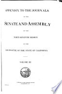 Appendix To The Journals Of The Senate And Assembly Of The Session Of The Legislature Of The State Of California