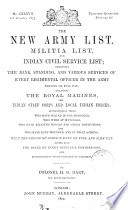 The new army list, by H.G. Hart [afterw.] Hart's army list. [Quarterly]