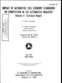 Impact of Automotive Fuel Economy Standards on Competition in the Automotive Industry  Volume II   Technical Report  Final Report