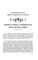 Disposal of Electrical Energy from Hetch Hetchy Project