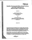 Benefits Environmental Risks Social Concerns And Policy Implications Of Biotechnology In Aquaculture